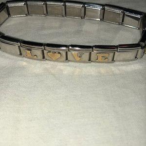 Add a charm Silvertone LOVE bracelet  4 charms Vtg